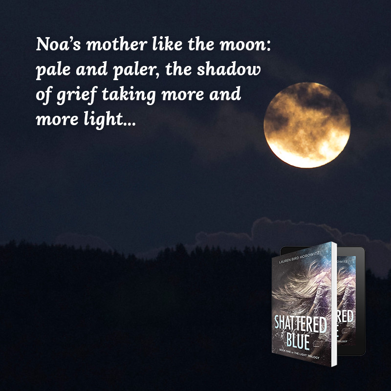 Noa's mother like the moon: pale and paler, the shadow of grief taking more and more light...